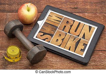 Corra, bicicleta, Nade, -, condición física, concepto,