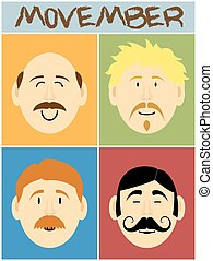 Movember faces - Movember or men with mustaches faces flat