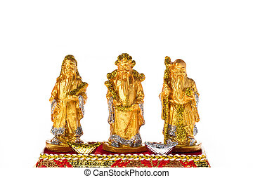 Golden Fu Lu Shou for good luck and wealhty