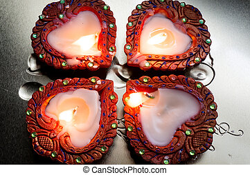 Beautiful diyas for diwali - Beautiful earthenware diyas...