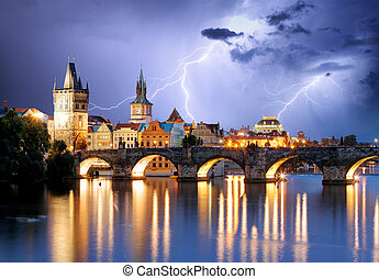 Prague bridge at storm