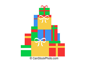 Christmas Gifts - illustration of a stack of Christmas gifts