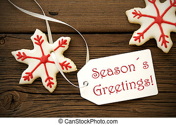 Seasons Greetings with Christmas Star Cookies - Red and...