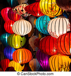 Traditional Lamps in Hoi An, Vietnam - Traditional lamps at...