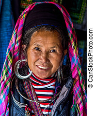 Hmong Woman in Sapa, Vietnam - Portrait of Black Hmong woman...
