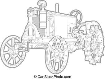 tractor - Vector black and white illustration of tractor