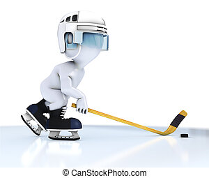 3D Morph Man playing ice hockey - 3D Render of Morph Man ice...