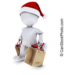 Morph Man with shopping bags - 3D Render of Morph Man with...