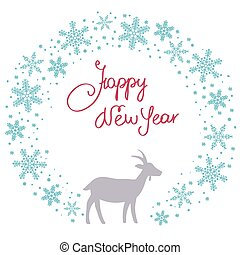Christmas snow garland background with goat