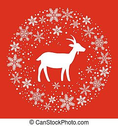 Winter Christmas Round Wreath with Snowflakes and Goat. Red...