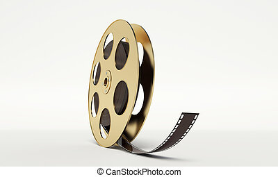 film reel with a film strip on the withe background