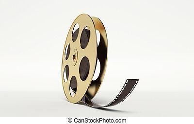 película, bobina, com, Um, película, faixa,