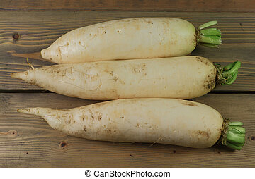 Lo Bok known as Daikon, or Winter Radish too - White roots...