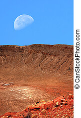 Meteor Crater and Moon