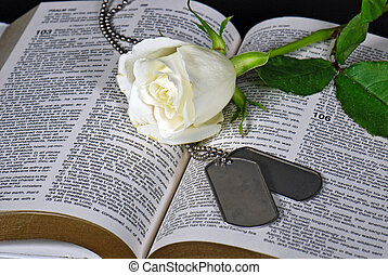 Respect - White rose and military dog tags on a Bible