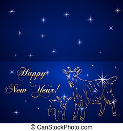 Vector sketch of goat and baby, symbol New Year on blue...