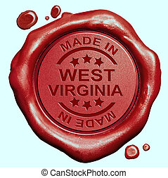 Made in West Virginia red wax seal or stamp, quality label