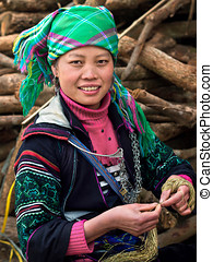 Hmong Woman in Sapa, Vietnam - Black Hmong woman dressed in...