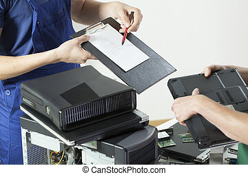 Professional computer service - Close-up of client at...