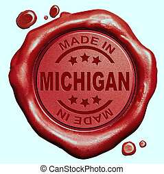 Made in Michigan red wax seal or stamp, quality label