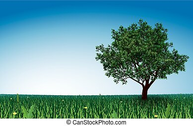 Tree on green field - Lonely tree on green field. Eps8....