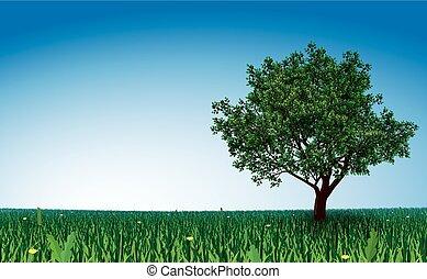 Tree on green field - Lonely tree on green field. Eps8....