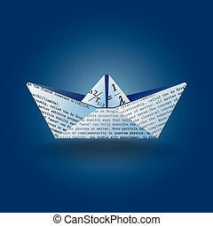 paper boat - Stylized illustration of a paper boat made from...