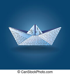 paper boat - Stylized illustration of a paper boat made...