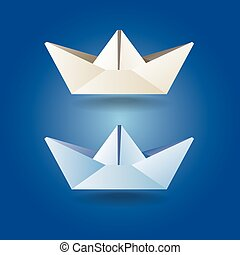 paper boats soft colors - set of stylized paper boat in soft...
