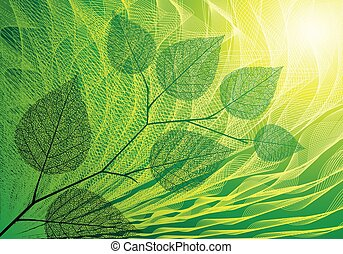 Summer background - Green ackground with leaves. Eps8. CMYK....