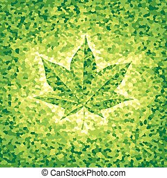 Maple leaf - Green mosaic background with maple leaf Eps8...
