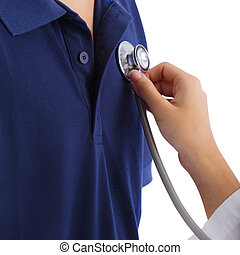 Cardiologist testing with stethoscope