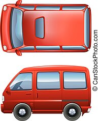 Red minivans - Illustration of the red minivans on a white...