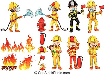 A group of firemen - Illustration of a group of firemen on a...