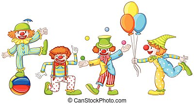 A simple drawing of four playful clowns - Illustration of a...