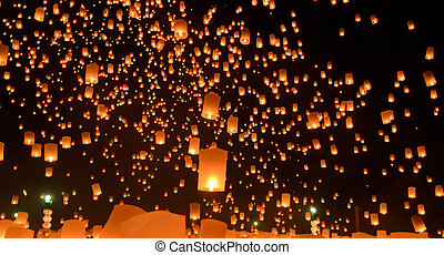 Sky lanterns festival, Thailand - Floating lanterns ceremony...