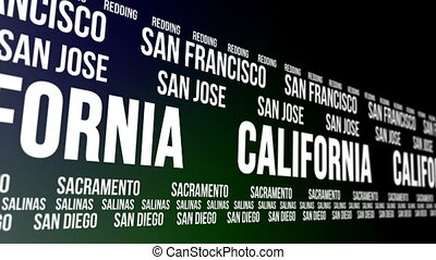 California State and Major Cities - Animated scrolling...