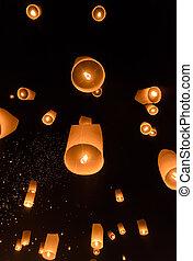 Sky lanterns festival or Yi Peng festival - Floating...