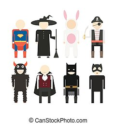 Halloween Costumes - Illustration of popular halloween...
