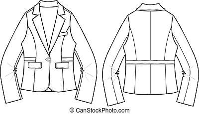 女性, ブレザー, 形式的, ジャケット