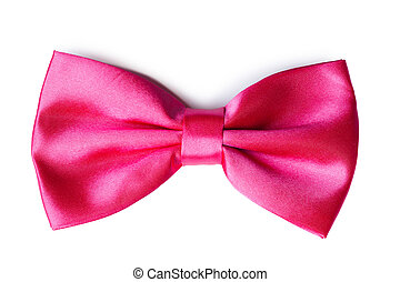 Pink bow tie on a white background