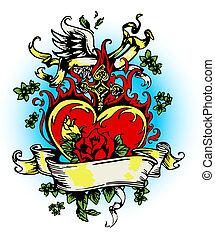 vintage fancy heart and rose emblem