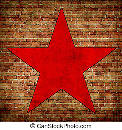 red star on brick wall background