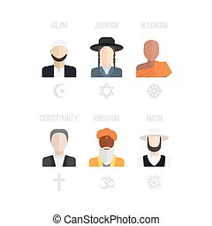 Religion People Icons - People of different religion in...