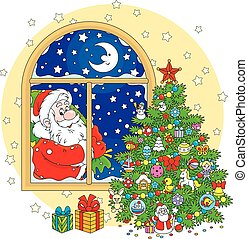 Santa Claus and Christmas tree - Father Christmas with his...