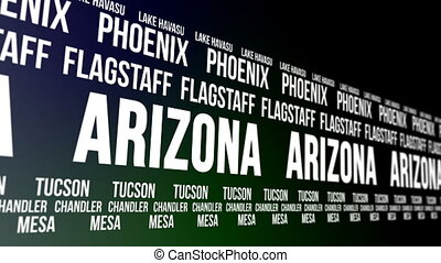Arizona State Major Cities Banner - Animated scrolling...