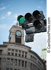 Traffic signal in Ginza, Japan