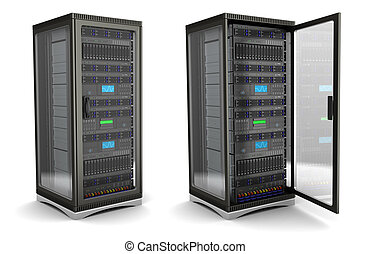 server stand - 3d illustration of server rack stand opened...