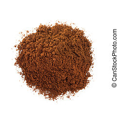 coffee grounds on white - coffee grounds isolated on white...
