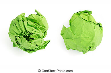 crumpled paper ball on white background - crumpled paper...